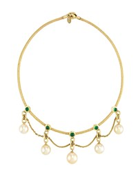 Prince Dimitri For Assael 18K Golden South Sea Pearl And Emerald Necklace Women's