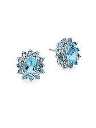 Effy Blue Topaz London Blue Topaz And 14K White Gold Button Earrings