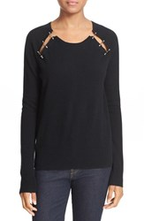 The Kooples Women's Hardware Embellished Wool And Cashmere Sweater Black