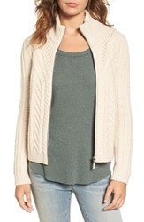 Hinge Women's Cable Knit Zip Cardigan