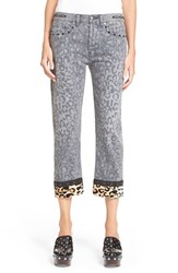 Women's Marc By Marc Jacobs Crop Boyfriend Pants Painted Leopard Black