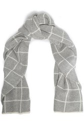 Madeleine Thompson Intarsia Knit Wool And Cashmere Blend Scarf Light Gray