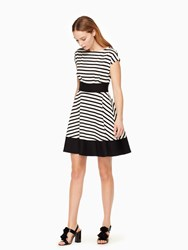 Kate Spade Ponte Stripe Fiorella Dress Off White Black