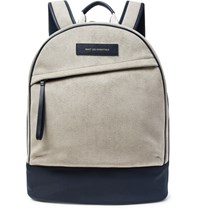 Want Les Essentiels Kastrup Nylon And Leather Trimmed Faux Suede Backpack Light Gray