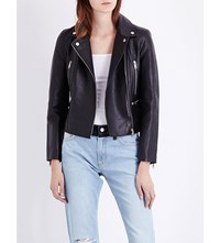 French Connection Lydia Leather Biker Jacket Black