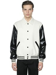 Calvin Klein Faux Leather And Wool Bomber Jacket