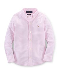 Ralph Lauren Childrenswear Long Sleeve Striped Oxford Shirt Carmel Pink Size 2T 7 Carmel Pink Multi