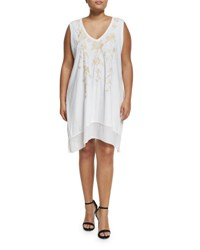Jwla For Johnny Was Plus Floral Embroidered Flounce Long Tunic White
