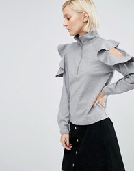 Minimum Moves High Neck Blouse With Ruffle Shoulder 910 Light Grey