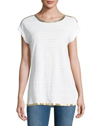 Michael Michael Kors Gold Beaded Tee White