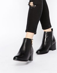 New Look Wide Fit Leather Side Zip Ankle Boots Black