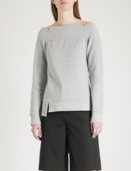 Moandco. Off The Shoulder Cotton Jersey Sweatshirt Heather Grey
