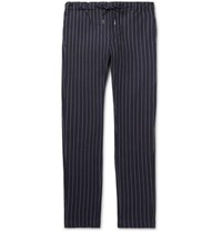 Bellerose Slim Fit Pinstriped Cotton Drawstring Trousers Navy