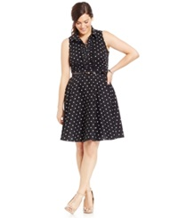 City Chic Plus Size Belted Polka Dot Shirtdress Black