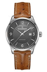 Hamilton Men's Jazzmaster Viewmatic Auto Ostrich Leather Strap Watch 44Mm Brown Gunmetal Silver