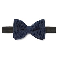 Marwood Cotton Mesh Bow Tie Blue