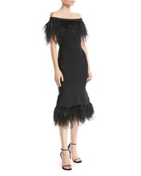 Herve Leger Off The Shoulder Ostrich Feather Bandage Cocktail Dress Black