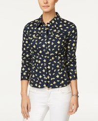 Charter Club Printed Denim Jacket Only At Macy's Intrepid Blue Combo