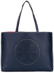 Tory Burch Perforated Logo Tote Blue