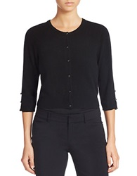 Lord And Taylor Petite Cropped Cashmere Cardigan Black