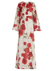 Giambattista Valli Rose Print Cape Back Silk Georgette Gown Red White