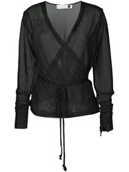 Kacey Devlin Metallic Wrap Blouse Black
