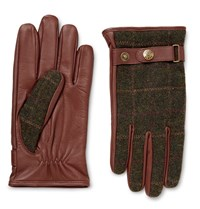 Dents Edinburgh Checked Flannel And Leather Gloves Chocolate
