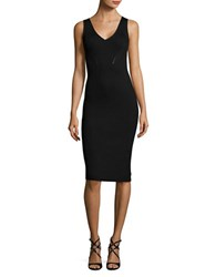 Michael Kors Ribbed Knit Sweater Dress Black
