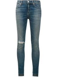 Citizens Of Humanity Distressed Cropped Skinny Jeans Blue