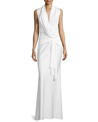 Camilla And Marc Sleeveless Cowl Neck Drape Front Gown Women's Creme