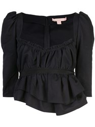 Brock Collection Ruffled Cropped Blouse Black