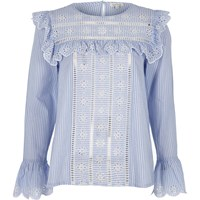 River Island Womens Blue Stripe Frill Broderie Blouse