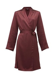 La Perla Belted Short Silk Satin Robe Burgundy