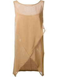 Twin Set Sheer Wrap Tank Nude And Neutrals