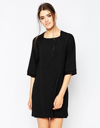 See U Soon Panelled Shift Dress With Pockets Black
