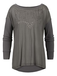 Sandwich Long Sleeve Top With Studs Grey