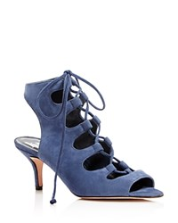 Delman Suede Caged Lace Up Mid Heel Sandals Denim