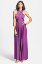 Women's Dessy Collection Convertible Front Twist Jersey Gown African Violet