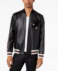 Inc International Concepts Men's Faux Leather Varsity Jacket Created For Macy's Black
