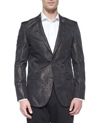 Bogosse Printed Jacquard Two Button Blazer Black Gold