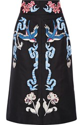 Temperley London Embroidered Cotton And Silk Blend Faille Midi Skirt Black