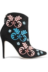Isa Tapia Alondra Embroidered Suede Ankle Boots Black