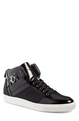 Versace Men's Collection Buckle High Top Sneaker Black Leather Suede
