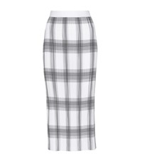 Helmut Lang Plaid Plisse Pleated Skirt White