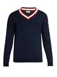 Moncler V Neck Cotton Sweater Navy