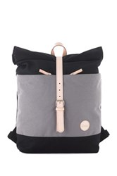 Enter Leather Trimmed Roll Top Backpack Gray
