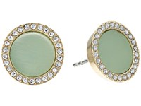 Michael Kors Disc Studs Earrings Gold Mint Acetate Clear Pave Earring Green