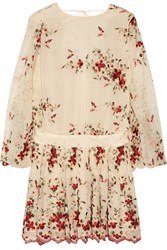 Zimmermann Sakura Embroidered Silk Georgette Mini Dress Cream