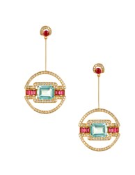 Hanut Singh Aquamarine Ruby And Diamond Classique Decoratif Earrings Blue