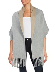 Bcbgeneration Reversible Fringe Trimmed Knit Shrug Grey